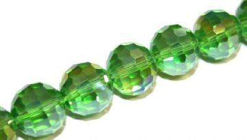 100pcs x 6mm Green with AB coating faceted round glass beads -- S.J -- 3005738